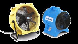 Ventilator gebruik samen met de bouwdroger