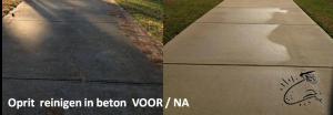 oprit reinigen in beton